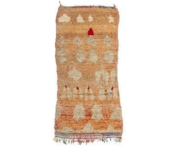 Vintage Mid-Century Moroccan Orange & Beige Wool Rug