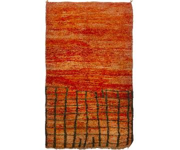 Vintage Mid-Century Berber Moroccan Orange & Red Wool Rug