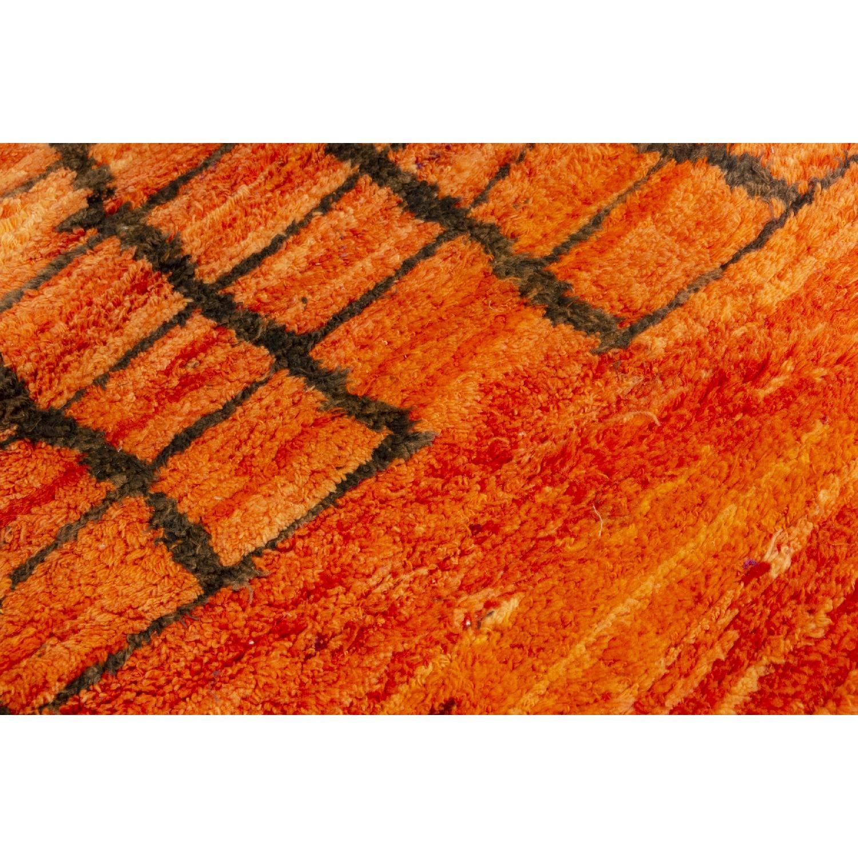 Vintage Mid-Century Berber Moroccan Orange & Red Wool Rug