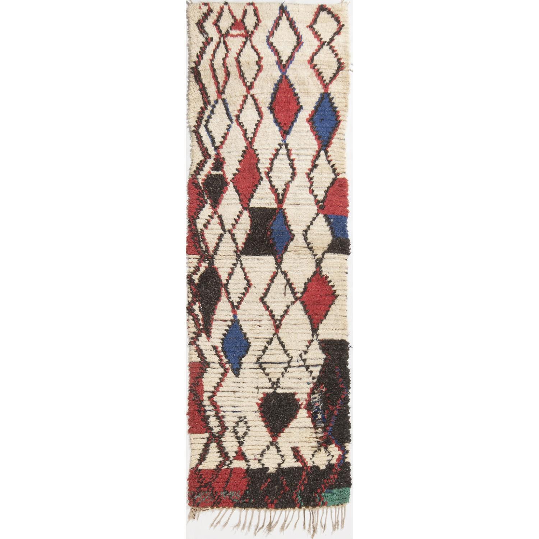 Vintage Mid-Century Moroccan Beige Red & Blue Wool Rug - image-0