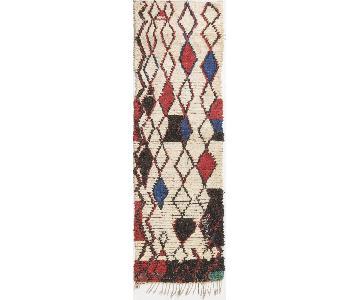 Vintage Mid-Century Moroccan Beige Red & Blue Wool Rug
