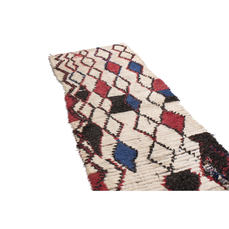 Vintage Mid-Century Moroccan Beige Red & Blue Wool Rug - image-1