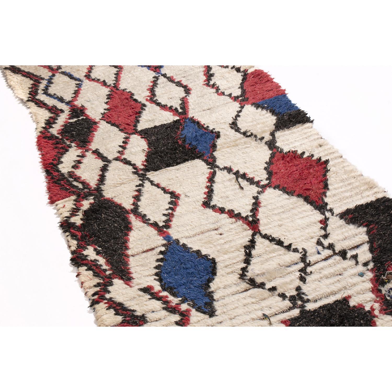 Vintage Mid-Century Moroccan Beige Red & Blue Wool Rug - image-2