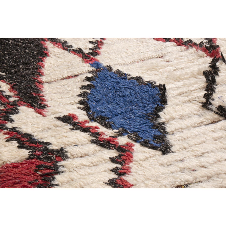 Vintage Mid-Century Moroccan Beige Red & Blue Wool Rug - image-3