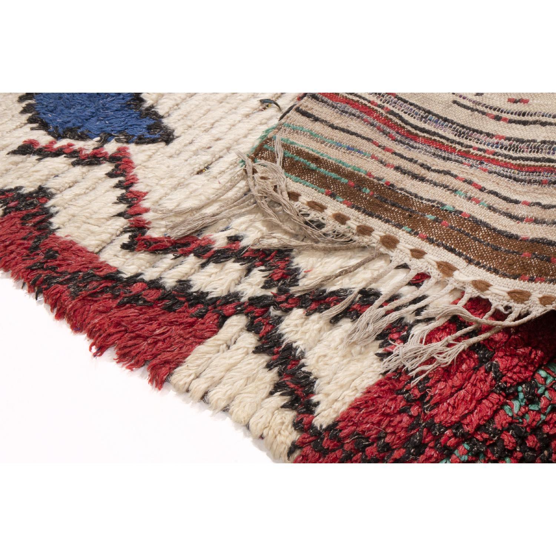 Vintage Mid-Century Moroccan Beige Red & Blue Wool Rug - image-4