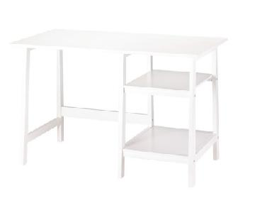 White Lacquer Desk w/ Shelves