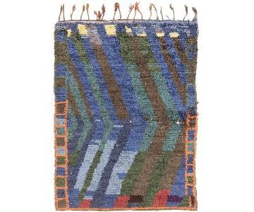 Vintage Mid-Century Moroccan Blue & Green Wool Rug