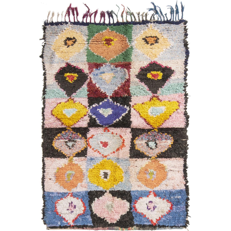 Vintage Mid-Century Moroccan Pink & Blue Wool Rug