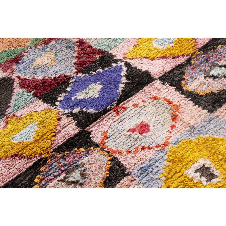 Vintage Mid-Century Moroccan Pink & Blue Wool Rug - image-2