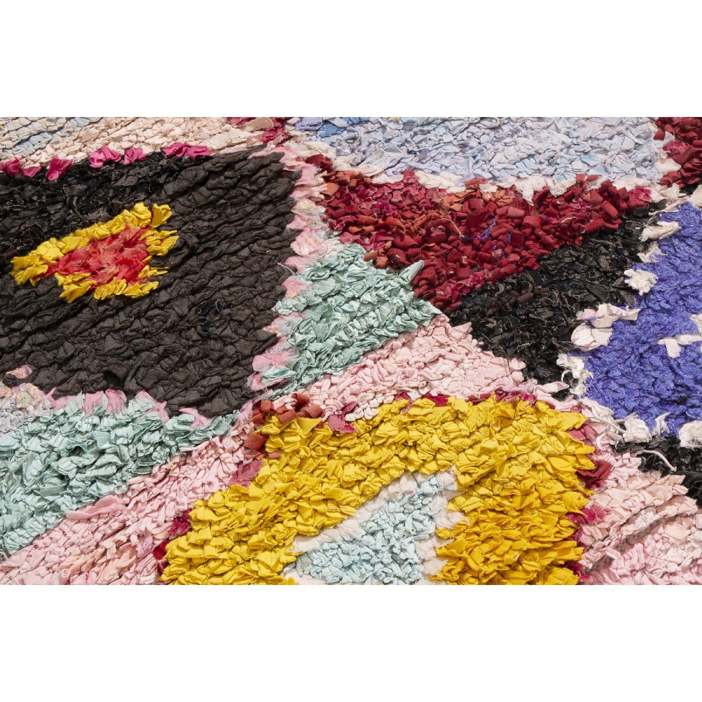 Vintage Mid-Century Moroccan Pink & Blue Wool Rug - image-3