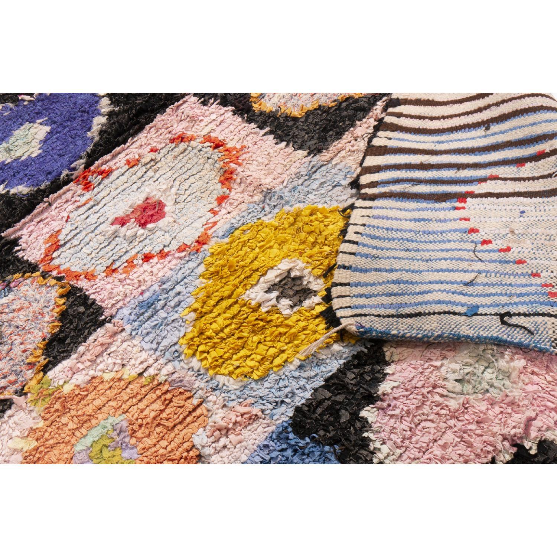 Vintage Mid-Century Moroccan Pink & Blue Wool Rug - image-4