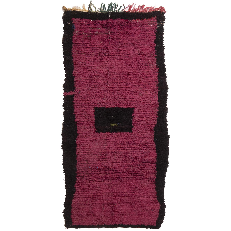 Vintage Mid-Century Moroccan Magenta & Black Wool Rug