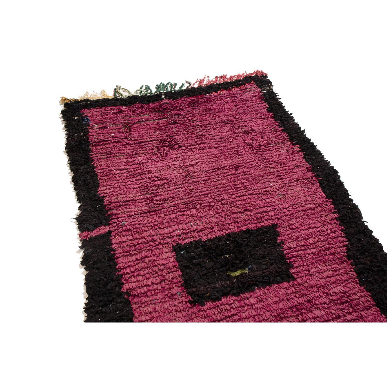 Vintage Mid-Century Moroccan Magenta & Black Wool Rug-0
