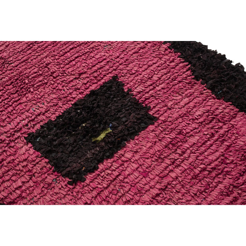 Vintage Mid-Century Moroccan Magenta & Black Wool Rug-1