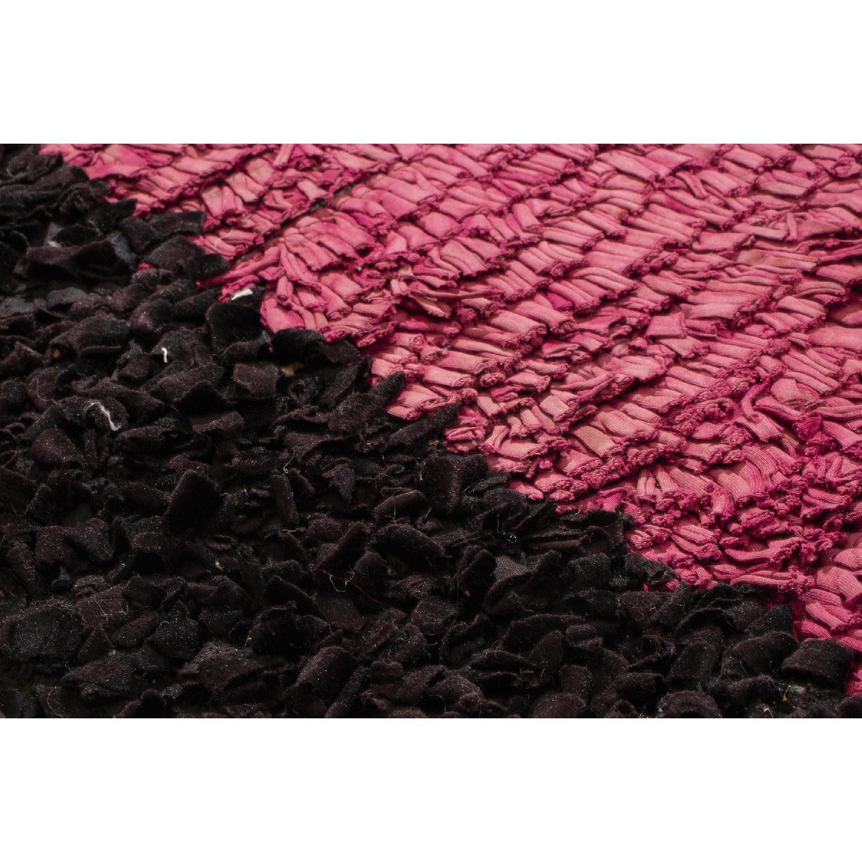 Vintage Mid-Century Moroccan Magenta & Black Wool Rug-2