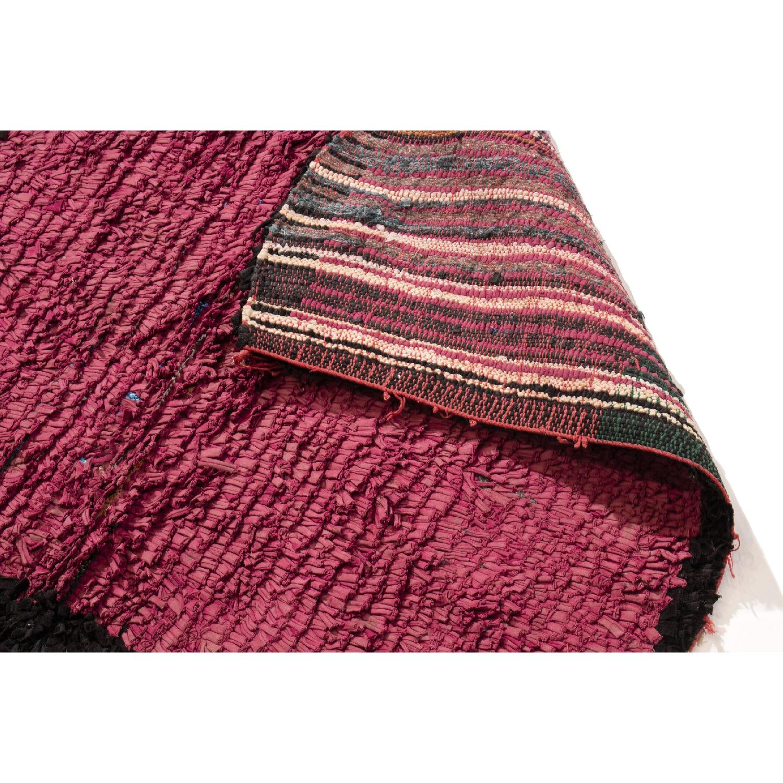 Vintage Mid-Century Moroccan Magenta & Black Wool Rug-3