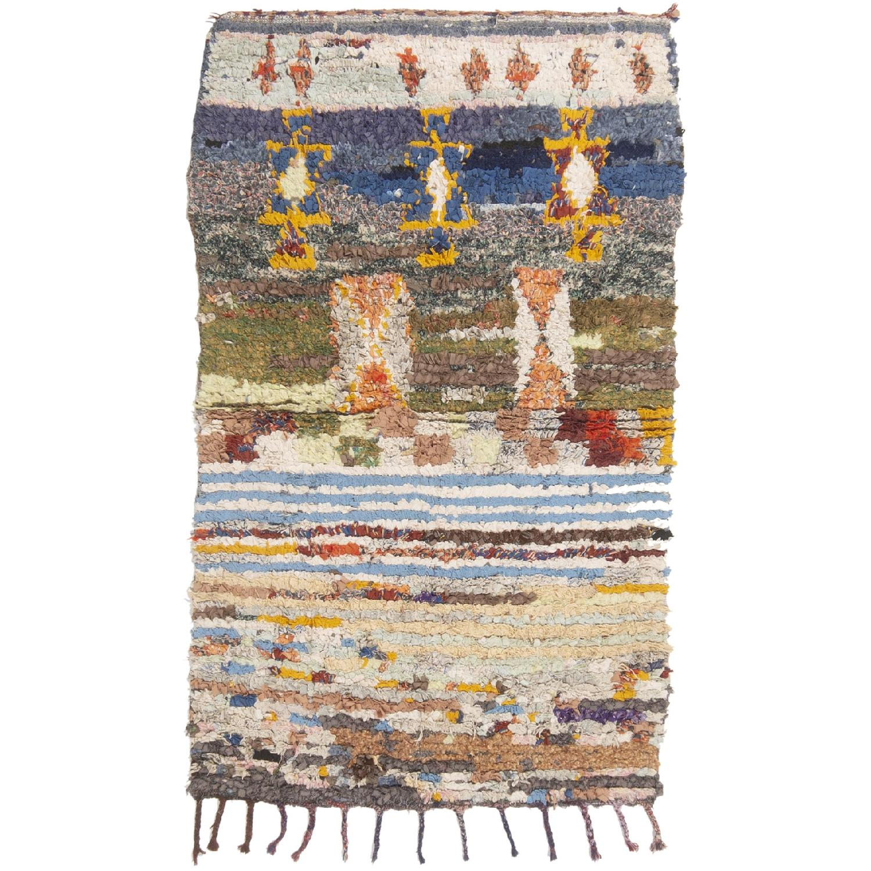 Vintage Mid-Century Moroccan Blue & Green Fabric Rug - image-0