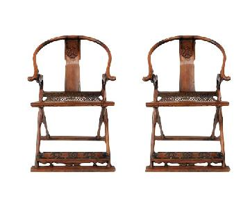 Antique Chinese Qing Dynasty Jiaoyi Horseshoe Back Chairs