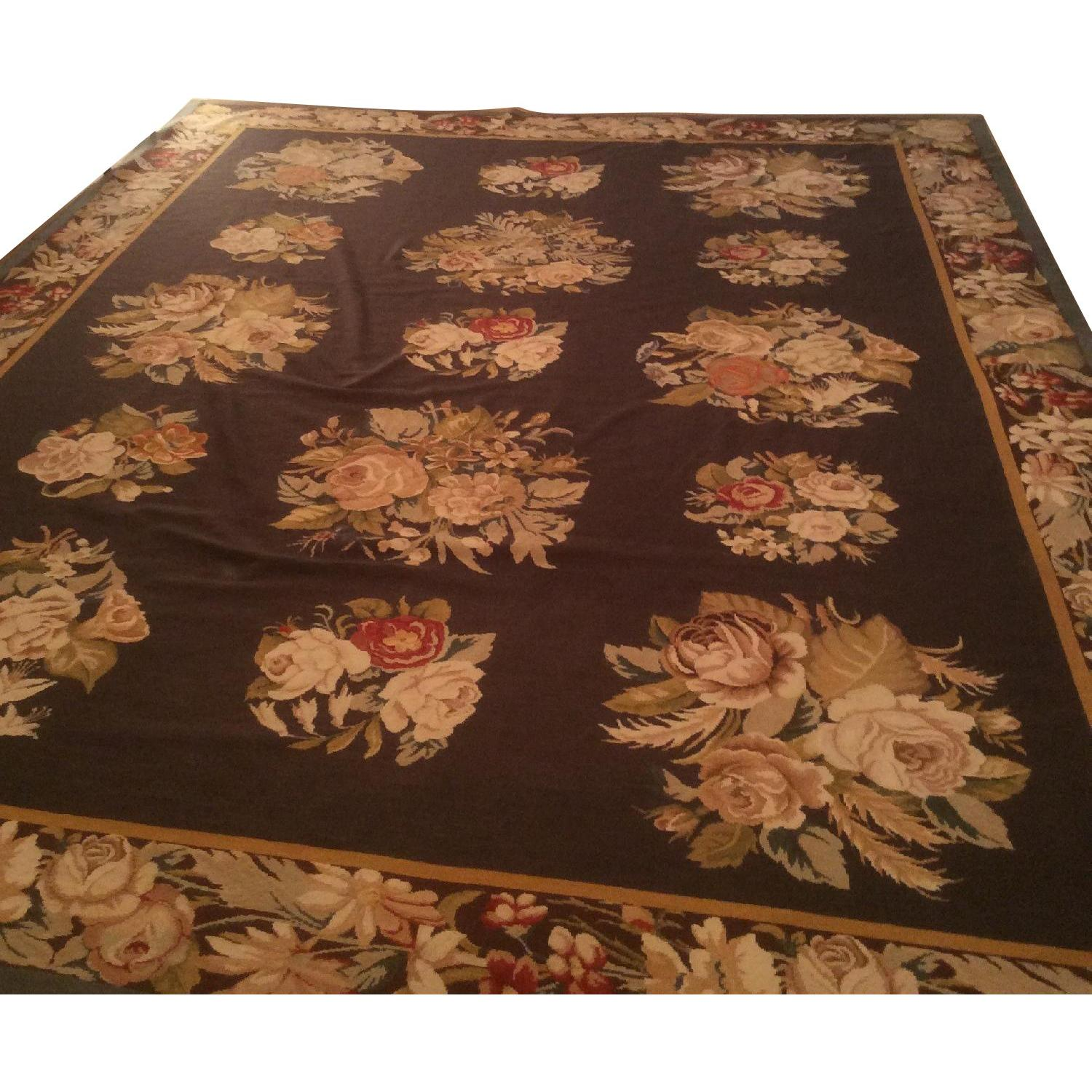 Vintage Chinese Silk Needlepoint Area Rug