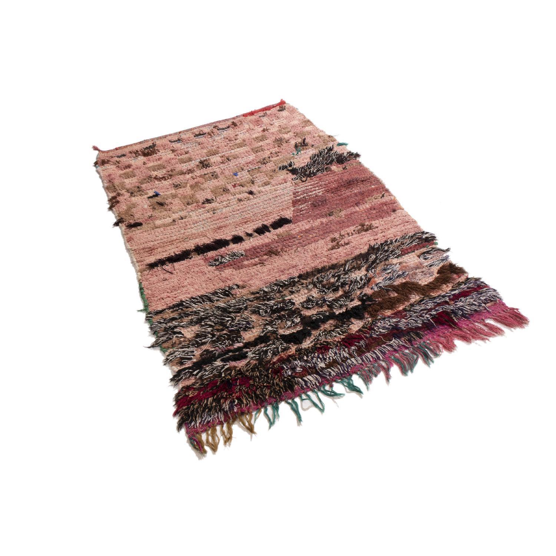 Vintage Mid-Century Moroccan Transitional Pink Wool Rug-0