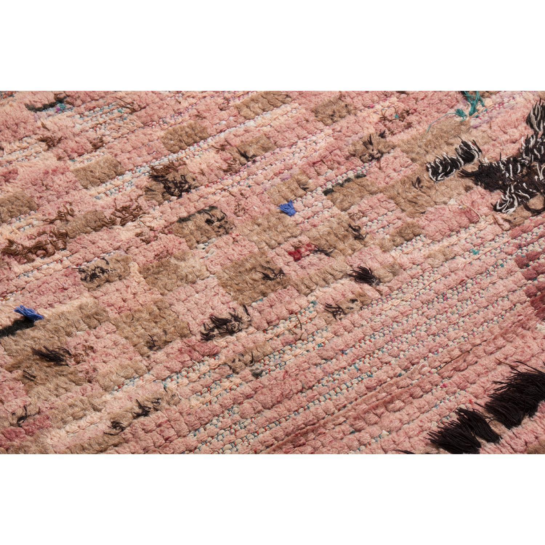 Vintage Mid-Century Moroccan Transitional Pink Wool Rug-2