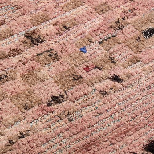 Used Vintage Mid-Century Moroccan Transitional Pink Wool Rug for sale on AptDeco