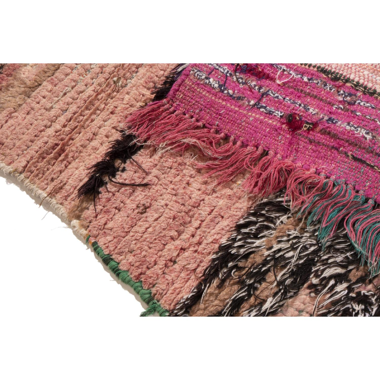 Vintage Mid-Century Moroccan Transitional Pink Wool Rug-3