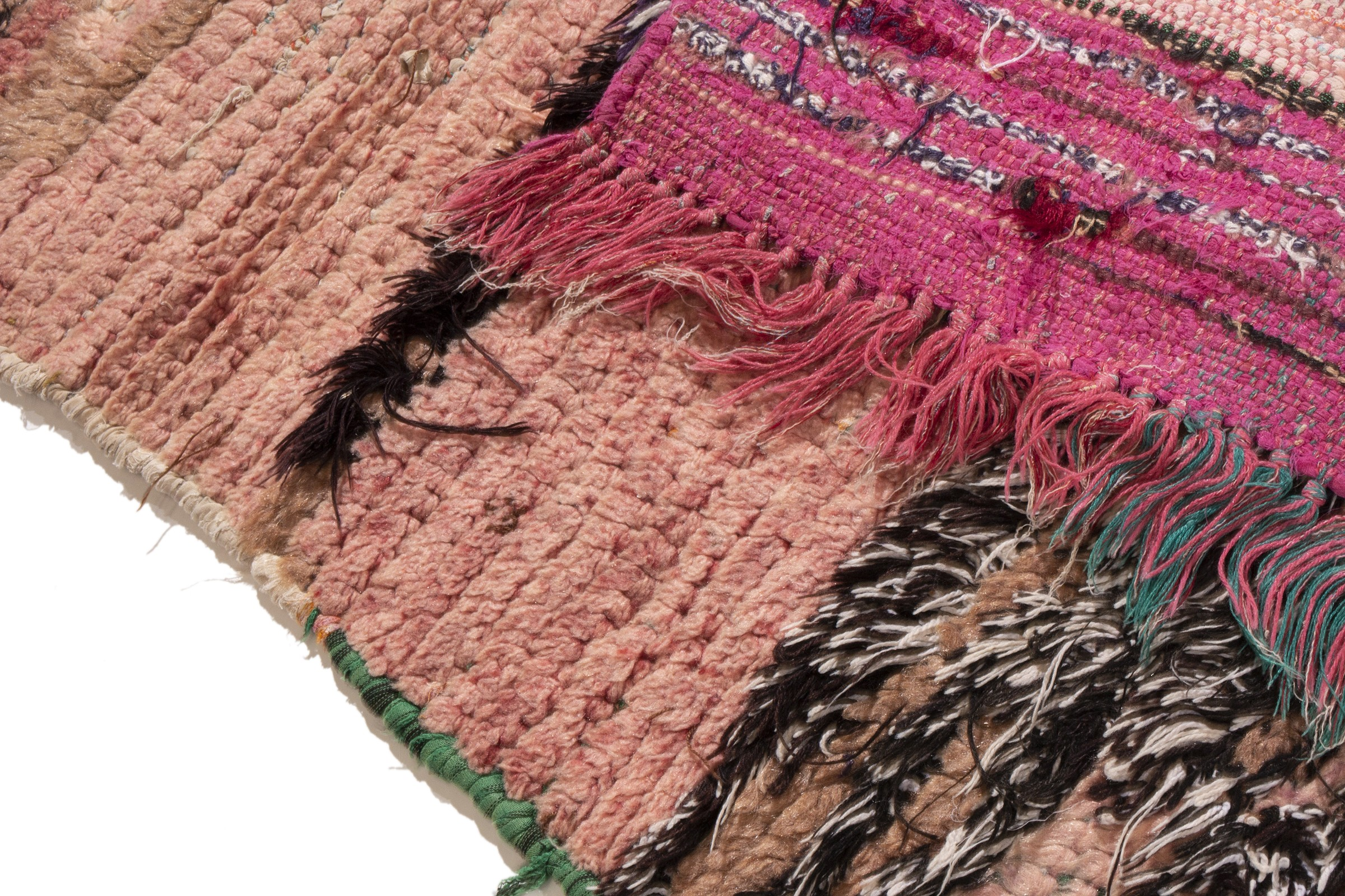 Vintage Mid-Century Moroccan Transitional Pink Wool Rug