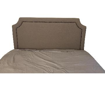 Upholstered Full Size Headboard w/ Bronze Nailheads
