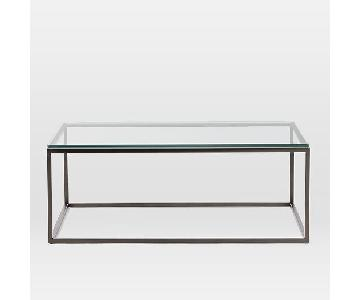 West Elm Box Frame Coffee Table in Glass/Antique Bronze