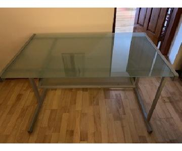 Crate & Barrel Light Gray & Glass Desk