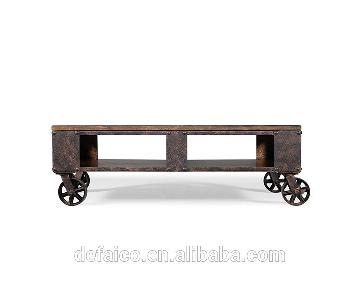Ashley Industrial Style Coffee Table on Wheels