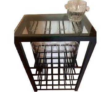Crate & Barrel Black Metal & Glass Bar