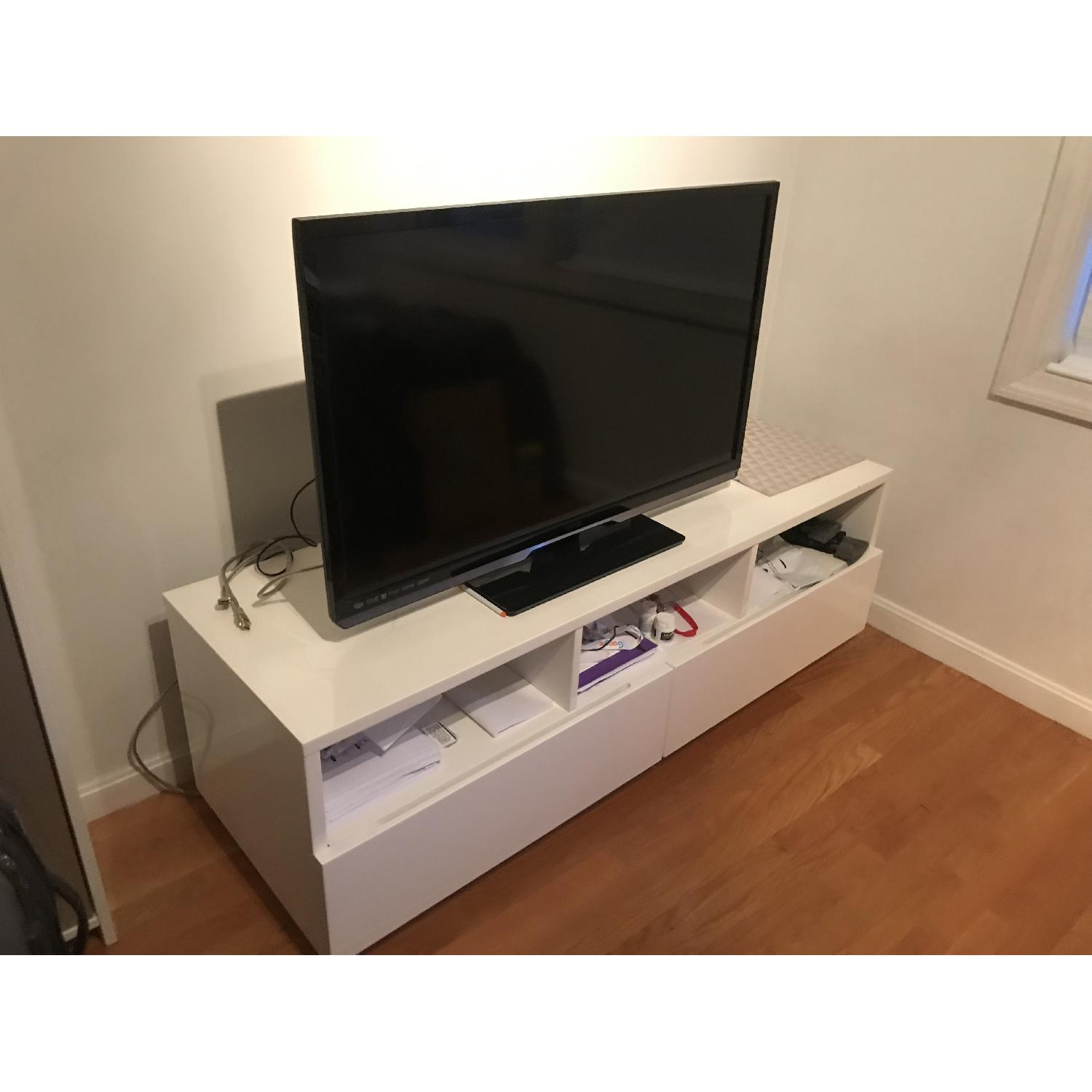 CB2 High Gloss White Modern TV Stand w/ 2 Drawers - image-1