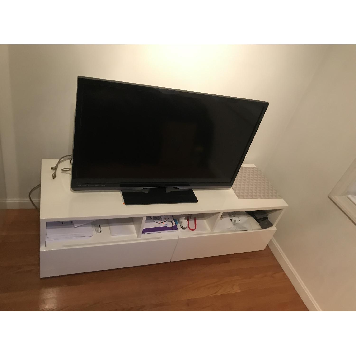 CB2 High Gloss White Modern TV Stand w/ 2 Drawers - image-3