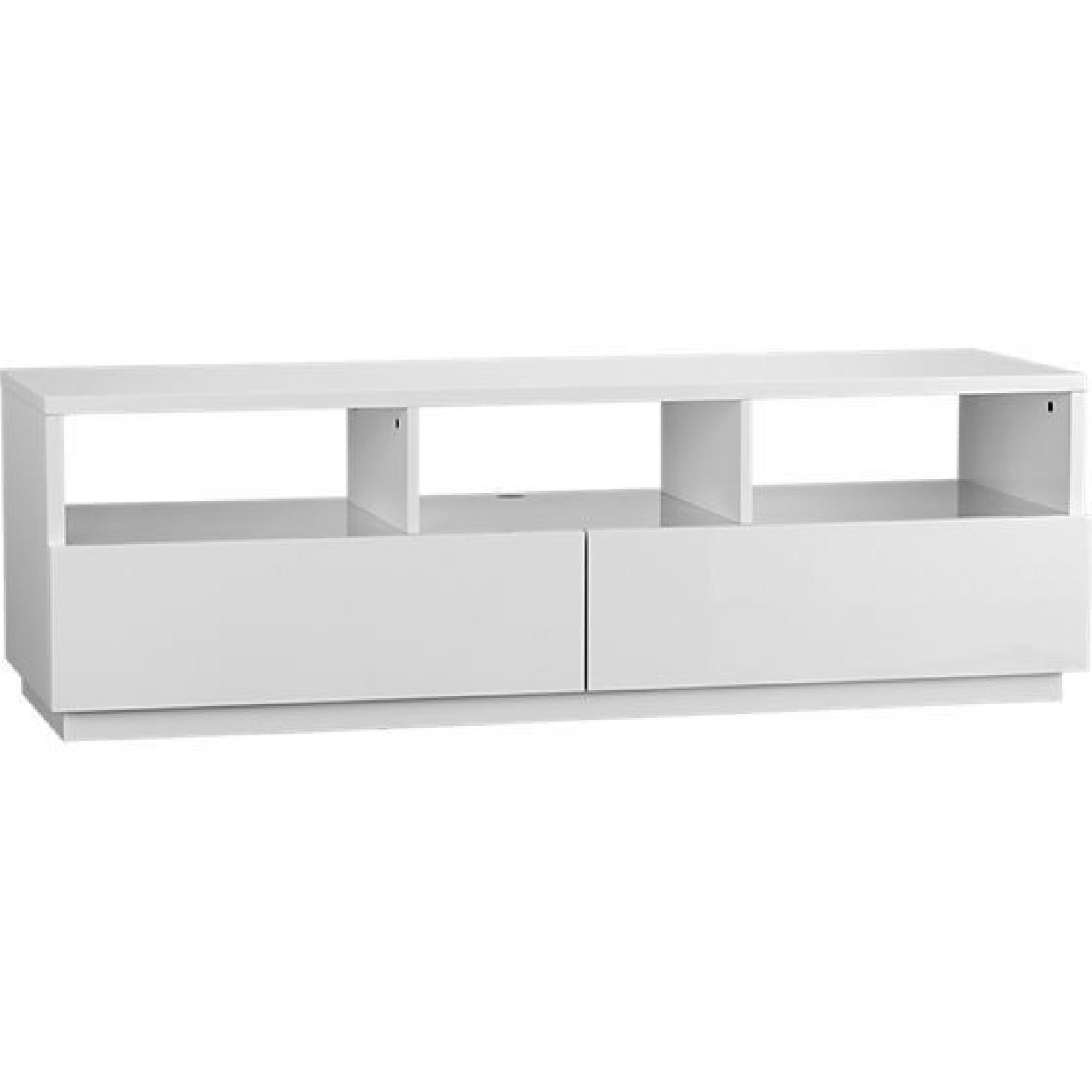 CB2 High Gloss White Modern TV Stand w/ 2 Drawers - image-0