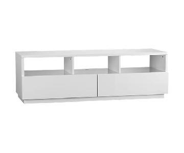 CB2 High Gloss White Modern TV Stand w/ 2 Drawers
