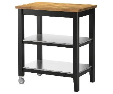 Ikea Stenstorp Kitchen Cart in Black-Brown Oak