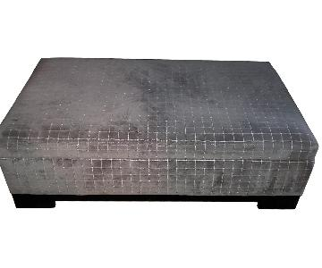 Raymour & Flanigan Storage Ottoman in Gray Velvet