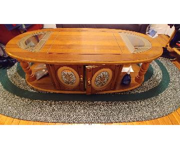 Wood & Glass Oval Coffee Table