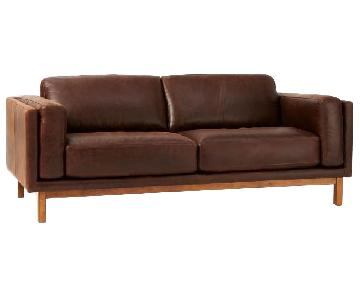 West Elm Dekalb Brown Leather Sofa