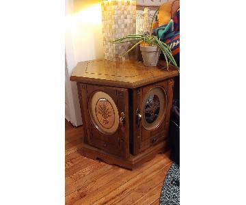 Hexagonal Wood End Table w/ Storage