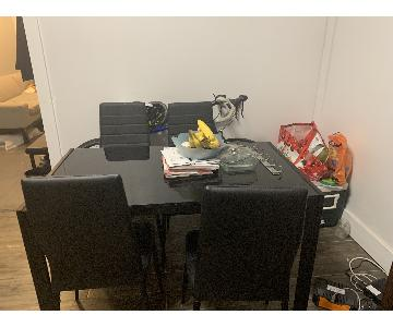 Black Glass Dining Table w/ 4Chairs
