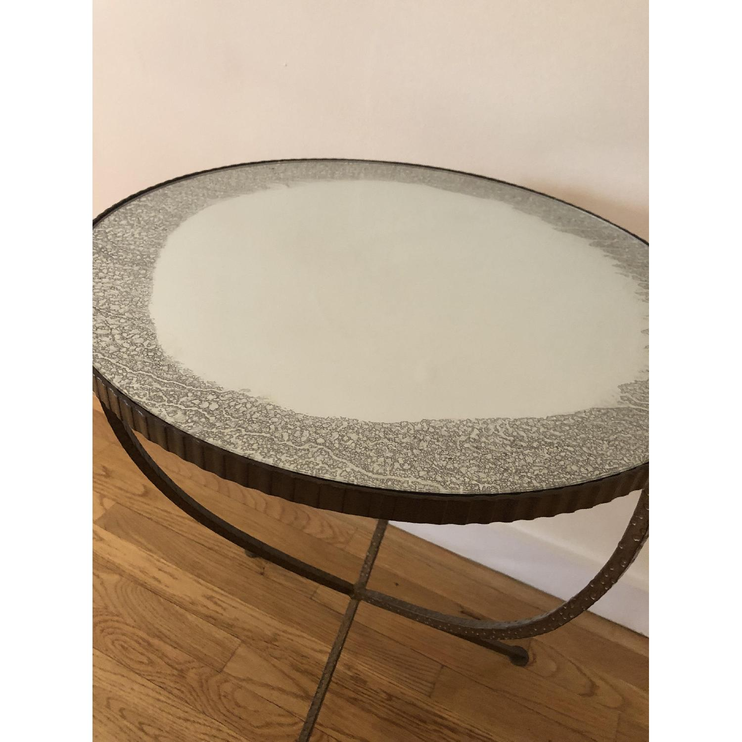 ABC Carpet and Home Iron Side Table w/ Mirrored Top - image-2