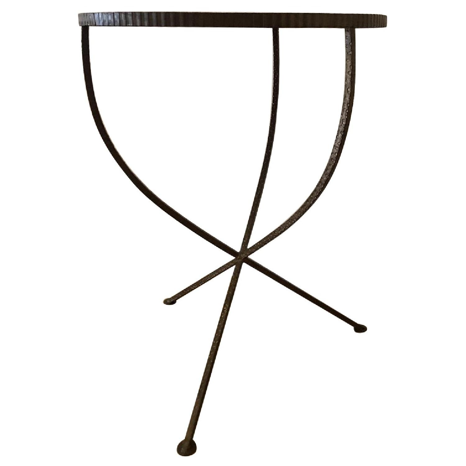 ABC Carpet and Home Iron Side Table w/ Mirrored Top - image-0
