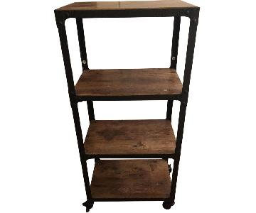 Natural Wood & Iron Bookshelf on Casters