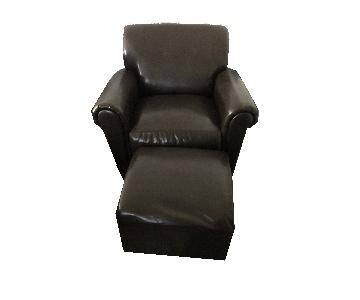 Dark Brown Faux Leather Modern Style Arm Chair & Ottoman