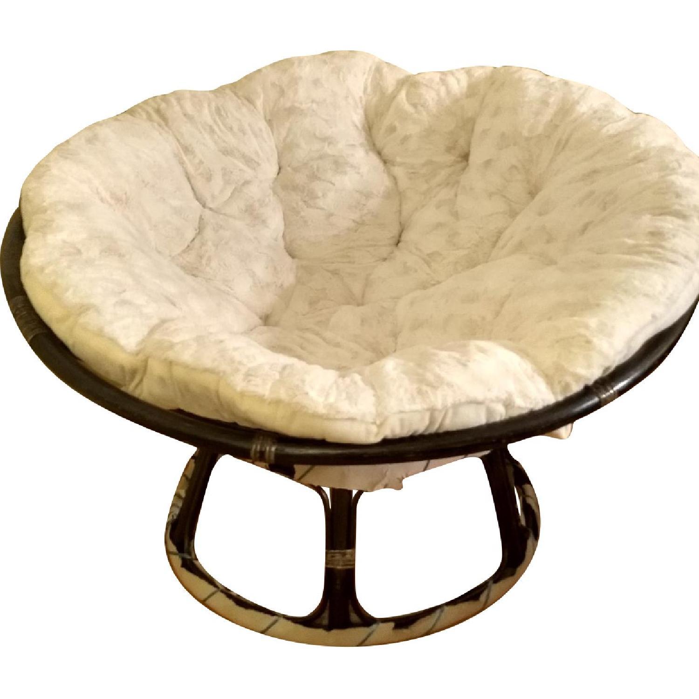 Papasan Wooden Chair w/ White Cushion
