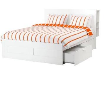 Ikea Brimnes Bed Frame w/ Headboard Storage & Bed Slat
