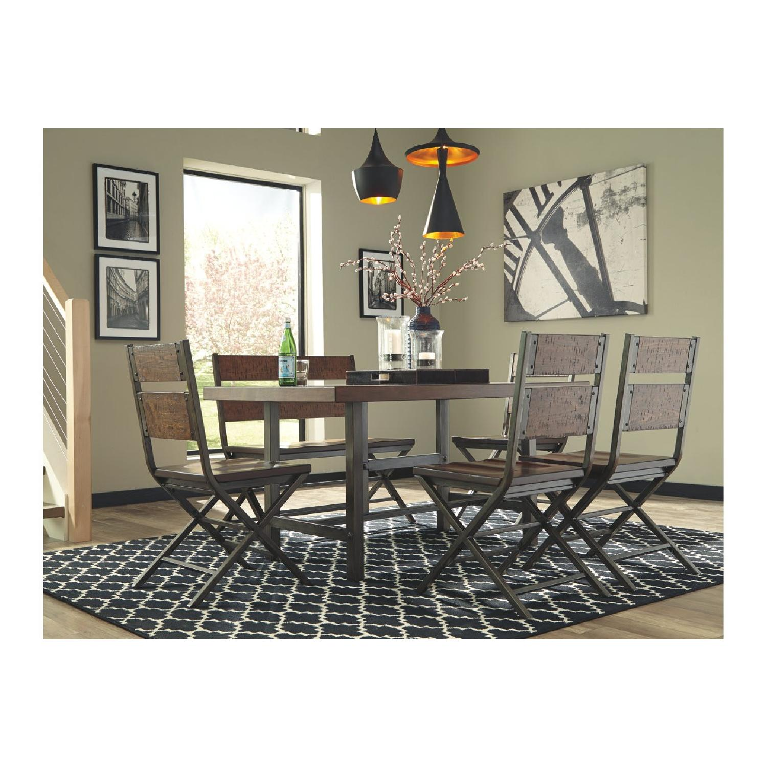 Ashley Distressed Counter Farm Table w/ Bench + 4 Chairs-1